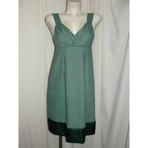 Green Tweed w/Silver Shimmer Pleated Front Dress
